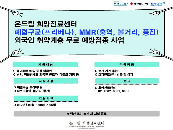 외국인 취약계층 감염병(폐렴구균, MMR) 무료예방접종 지원사업-kr